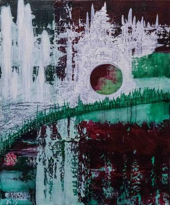 Andrée Katharina, Abstrakt in Grün, Acryl auf Leinwand, 50cm x 60cm