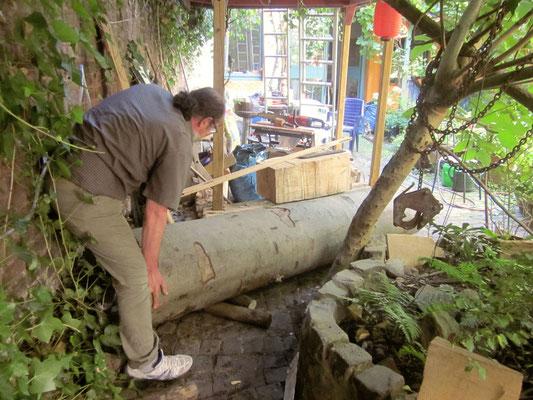 Transport des Rohlings für die Stele auf der Aachener Kunstroute 2015,  Abenteuer 1