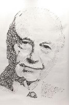 Walter Just 2013 130x180 cm #stempelkunst#stempelbild#rubber stamp art#stamp art#stempelgrafik#stempelportrait#stempel
