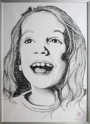 Josefine 2015 100x140 cm #stempelkunst#stempelbild#rubber stamp art#stamp art#stempelgrafik#stempelportrait#stempel