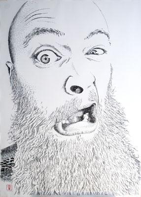 Why so serious? Dave 2016 100x140 cm #stempelkunst#stempelbild#rubber stamp art#stamp art#stempelgrafik#stempelportrait#stempel