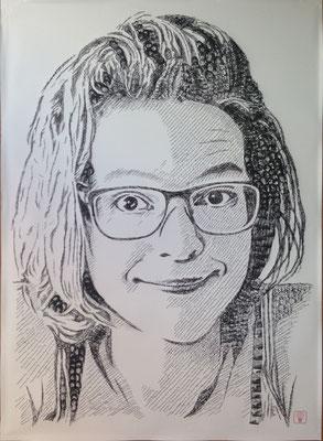 Magdalena 2015 100x140 cm #stempelkunst#stempelbild#rubber stamp art#stamp art#stempelgrafik#stempelportrait#stempel