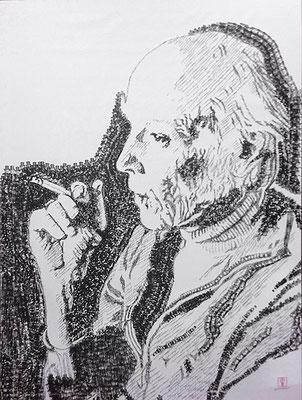 George Classen 2014 130x180 cm #stempelkunst#stempelbild#rubber stamp art#stamp art#stempelgrafik#stempelportrait#stempel