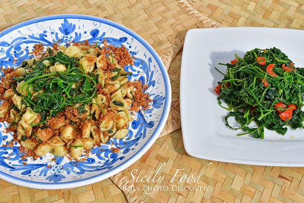 Orecchiette con Rapuddi o Cauliceddi e mollica - Rapuddi saltati in padella con pomodorini