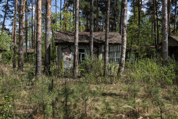 The Izumrudny children's summer camp is located a few kilometres from the Chernobyl nuclear power plant. It consisted of colourful houses with characters from Soviet fairy tales and was used during the summer as a place for the plant workers' children