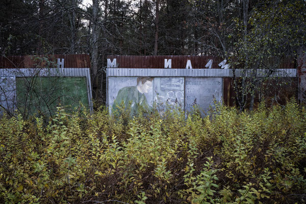 A Soviet propaganda cartel submerged by nature in the abandoned military city of Chernobyl-2 within the Chernobyl Exclusion Zone.