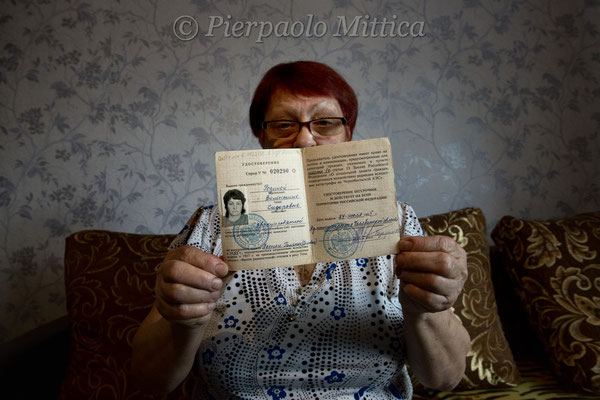 Valentina Rodina, Milana's grandmother while showing her certificate of radiation victim. Kysthym