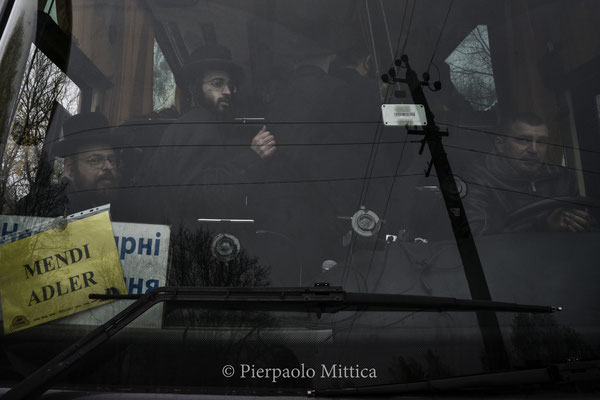 the bus for the Hassidic heritage Jews tour while leaving Chernobyl City after the visit