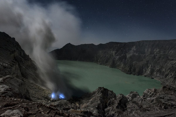 Volcano Ijen during the night