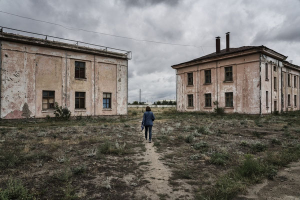 The abandoned nuclear laboratories of the Soviet period inside the Institute of Radiation Protection and Ecology in Kurchatov.  During the Soviet period the laboratories were used to study the consequences of the nuclear weapons tests.