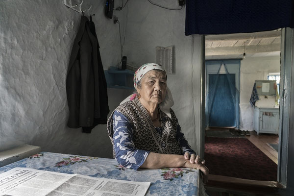 Rakima 79 years old, in the contaminated village of Bodene Ramika is a witness of the nuclear weapons tests in the Polygon.