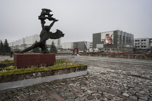 Chernobyl, the statue of Prometheus in front of Lenin nuclear power plant. Before the incident the statue was located in Pripyat. Later it was moved in front of the nuclear power plant and a monument was created in memory of the victims