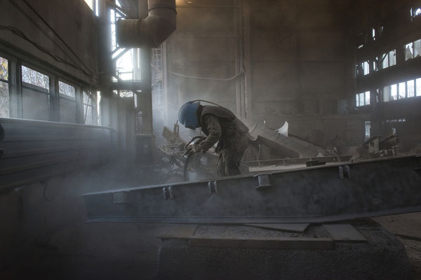 Scrap metal sandblasting. The recycling process consists first of all in a strong blasting of the scrap metals which actually reduces the contamination of the scrap metal surface to zero. Chernobyl Exclusion Zone.