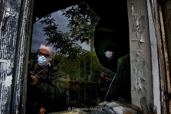 Francesco is from Italy, here is inside the scientific laboratories, the exclusion zone.
