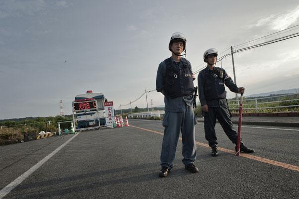 """Check point, Minamisoma, Fukushima """"No-Go Zone"""", Japan."""