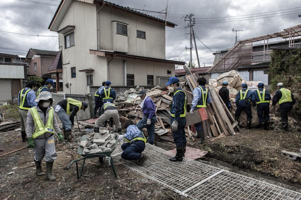 Decontamination works in the city of Odaka, Fukushima No-Go Zone.