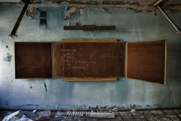 written by tourist on the board of the school number 1 in Pripyat