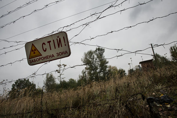 The fence with the barber wire of the Chernobyl Exclusion Zone.