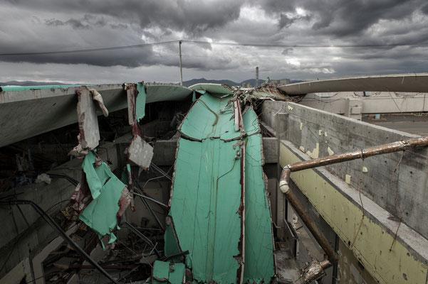 Warehouse devastated by the tsunami, Soma port.