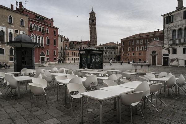 Empty tables of a closed cafè