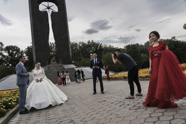 On the 29th August 2001 a memorial to the victims of Nuclear Test was opened. In Semey there is a tradition: most of the people do their wedding photo shooting under the shadow of the monument dedicated to the victims of Polygon, as a wish for good luck.