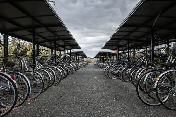 "Abandoned bicycle parking at the train station, Okuma City, Fukushima ""No-Go Zone"", Japan."