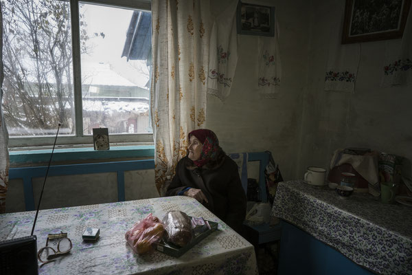 Maria Shovkuta, 89, in her home in the village of Opachici, Chernobyl Exclusion Zone