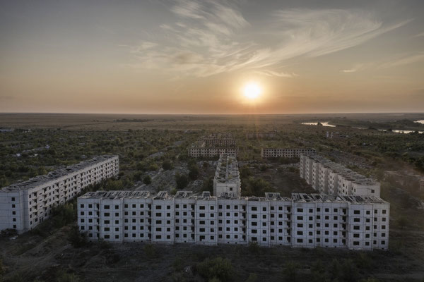 The abandoned military city of Chagan Chagan is a town located close to the polygon, it was Founded in 1950, and during the soviet period was know as Semipalatinsk-4. After the closure of the polygon the town was abandoned.