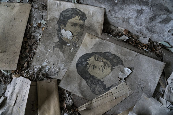 Inside the abandoned school in the city of Pripyat.