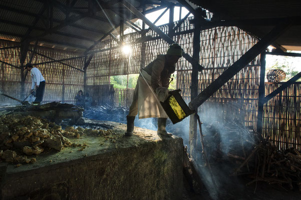 a sulfur miner during the process to purify and filter out the sulfur