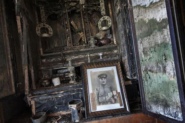 """Abandoned house devastated by the Tsunami, Minamisoma, Fukushima """"No-Go Zone"""", Japan."""