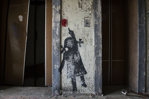 a graffiti inside a building in the ghost town of Pripyat