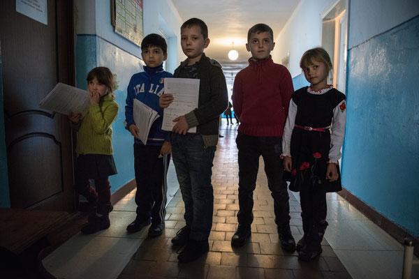 Children waiting to be analyzed by Professor Bandazhevsky's team at the Ivankiv hospital