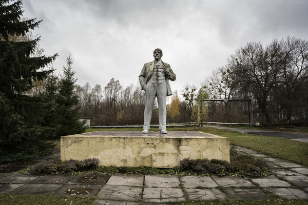 A statue of Lenin in the square in Chernobyl town. In the exclusion zone time has stood still since 26 April 1986, for this reason signs of the soviet past are still visible.