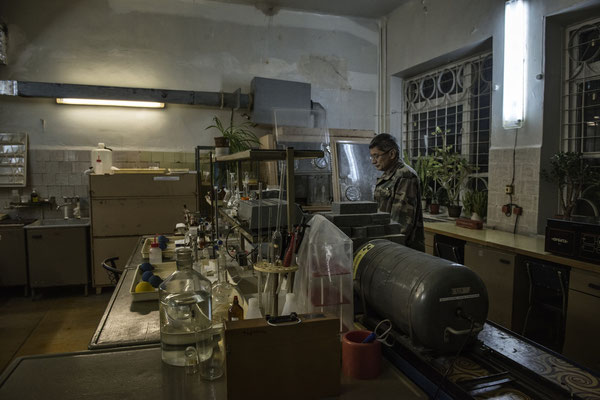 A lab technician working on samples taken from the area. Scientific laboratories of the city of Chernobyl.
