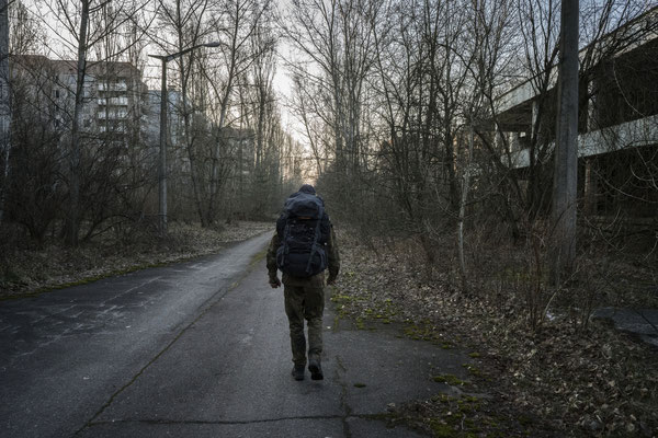 Jimmy walking in the ghost town of Pripyat-