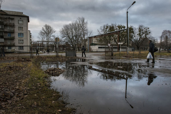 The entrance to the bus station in Chernobyl town.