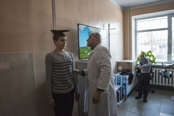 Viktor 12 years old while being examined by Professor Bandazhevsky's team in the Ivankiv hospital