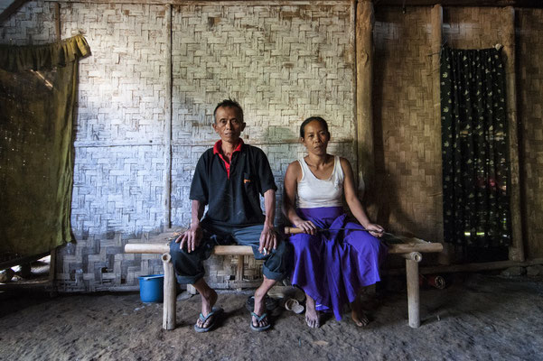 Misno and his wife at home, he lives in Tanah los village.