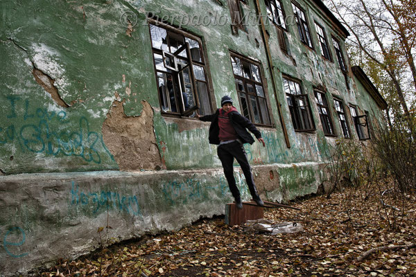 Children playing in the abandoned buildings. Karabash