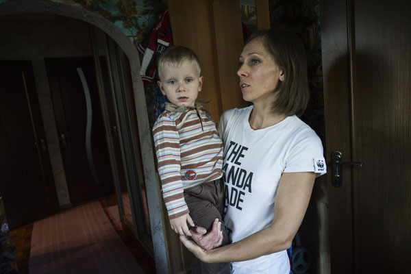 """Vladik, 3, is one of the many """"sons"""" of Chernobyl. He lives in Ivankiv, one of the most contaminated areas of Ukraine due to Chernobyl fallout and has a sad consequence: a blastoma in the lumbar spine. Vladik cannot walk and is incontinent."""