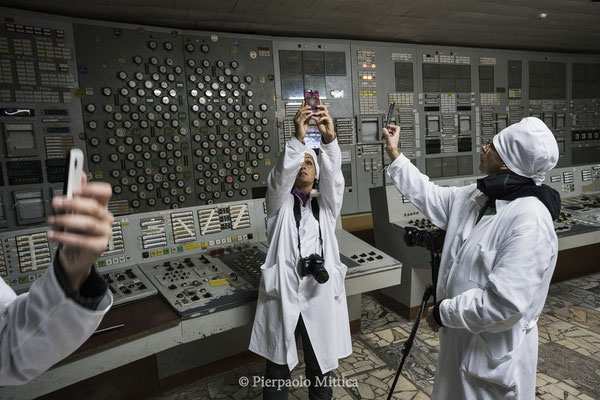 Selfies inside the control room of reactor number 2, Chernobyl nuclear power plant