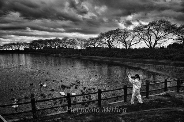 """Animal activist looking at the swans in a contaminated lake inside the exclusion zone, Kamishigeoka, Naraha, Fukushima """"No-Go Zone"""", Japan."""