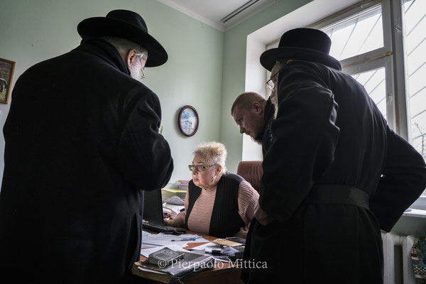 Yitz Twersky and Rabbi Leibel Sirkes in the office of Interinform agency in Chernobyl expressed the desire of the Jewish community to buy all the land within the Chernobyl exclusion zone where the sacred sites for the Hassidic Jews reside