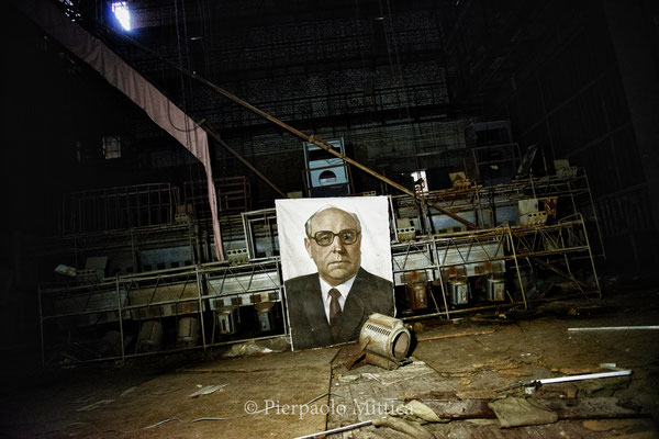 The house of culture, a portrait of the soviet leader Yuri Andropov.