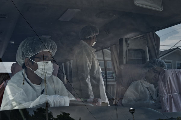 """Residents going back home to collect their belongings, Tomioka city, Fukushima """"No-Go Zone"""", Japan."""