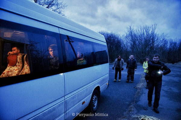 Tourists Van waiting to leave after the visit to the science labs, the exclusion zone