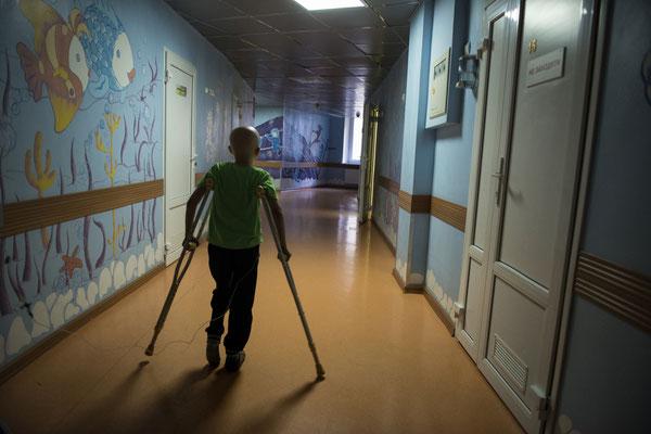Nikita, 9 years old, bone cancer, rehabilitation center of the Kiev cancer hospital.