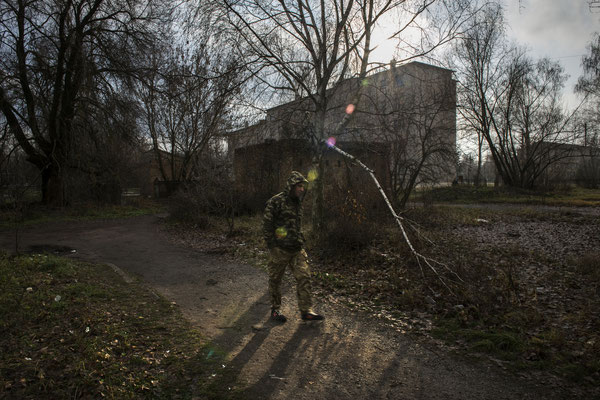 Chernobyl town, a worker return to his accomodation after the end of his shift.