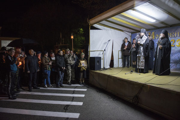 Celebrations on the anniversary of the Chernobyl accident, on April 26, in the main square of the city of Chernobyl.